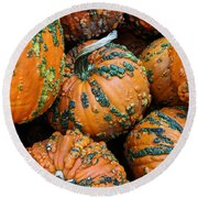 Nestled - Autumn Pumpkins Round Beach Towel