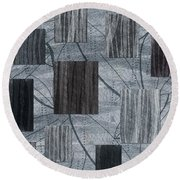 Neutral Toned Leaf Square Print Round Beach Towel