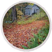 Round Beach Towel featuring the photograph New England Autumn Woods by Bill Wakeley