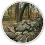 New England Stone Wall 1 Round Beach Towel
