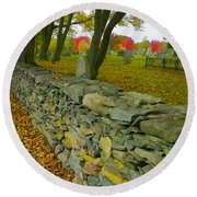 New England Stone Wall 2 Round Beach Towel