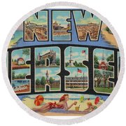 New Jersey Greetings - Version 1 Round Beach Towel