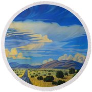 New Mexico Cloud Patterns Round Beach Towel