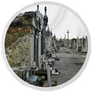 Round Beach Towel featuring the photograph New Orleans Cemetery by Rosanne Licciardi