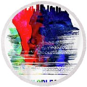 New Orleans Skyline Brush Stroke Watercolor   Round Beach Towel