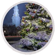 New Snow For Christmas Round Beach Towel