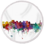 New York And Miami Skylines Mashup Round Beach Towel