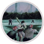 New York Central Park Baseball - Watercolor Art Painting Round Beach Towel