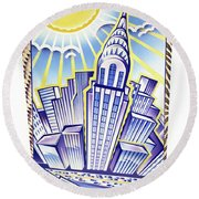 New York Chrysler Building Round Beach Towel