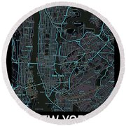 New York City Map Black Edition Round Beach Towel