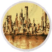 New York City Skyline 79 - Water Color Drawing Round Beach Towel