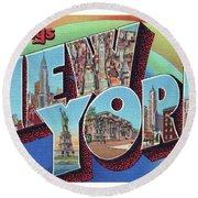 New York Greetings - Version 2 Round Beach Towel