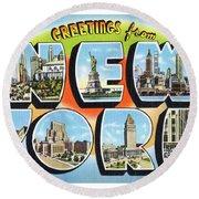 New York Greetings - Version  3 Round Beach Towel