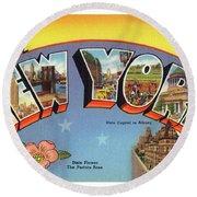New York Greetings - Version 4 Round Beach Towel