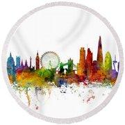 New York, London And Barcelona Skylines Mashup Round Beach Towel