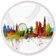 New York, London, Paris Skyline Mashup Round Beach Towel