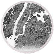 New York Map Black And White Round Beach Towel