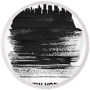 New York Skyline Brush Stroke Black Round Beach Towel