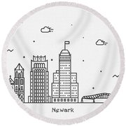 Newark Cityscape Travel Poster Round Beach Towel