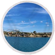 Round Beach Towel featuring the photograph Newport Harbor Panorama  by Brian Eberly