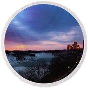 Niagara Falls At Sunrise Round Beach Towel