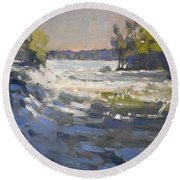 Niagra River At Goat Island Round Beach Towel