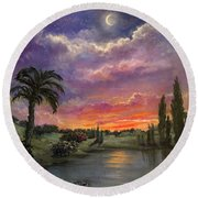 Night By Light Of Day Round Beach Towel