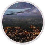 Night Flight Over City Lights Round Beach Towel