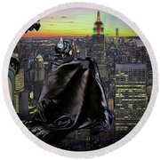 Night Of The Bat Man Round Beach Towel
