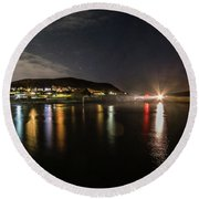 Night Sky Over Aberystwyth Harbour Round Beach Towel