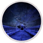 Night Sky Over The Temple Round Beach Towel