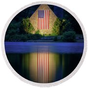 Nightfall At The Old Stone Church Round Beach Towel