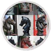 Nine Horse Head Hitching Posts Round Beach Towel