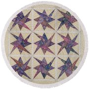Nine Stars Dipping Their Toes In The Sea Sending Ripples To The Shore Round Beach Towel