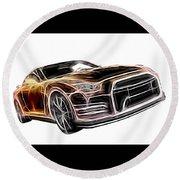 Nissan Gt-r Front Side Profile Digital Neon Round Beach Towel