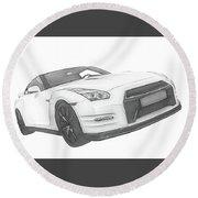 Nissan Gt-r Front Side Profile Digital Sketch Round Beach Towel