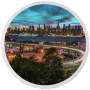 Nj And Ny Sunrise Round Beach Towel