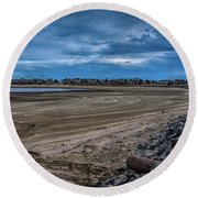 Round Beach Towel featuring the photograph No Water Under The Bridge by Jon Burch Photography