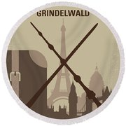 No1042 My The Crimes Of Grindelwald Minimal Movie Poster Round Beach Towel