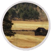 Round Beach Towel featuring the photograph Noble Meadow Barn by Lukas Miller