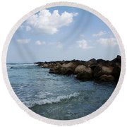 North Beach Jetty Round Beach Towel