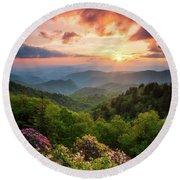 North Carolina Great Smoky Mountains Sunset Landscape Cherokee Nc Round Beach Towel