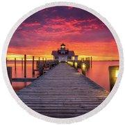 North Carolina Outer Banks Manteo Lighthouse Obx Nc Round Beach Towel