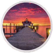 North Carolina Outer Banks Manteo Lighthouse Obx Nc Round Beach Towel