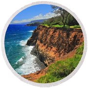North Hawaii View Round Beach Towel
