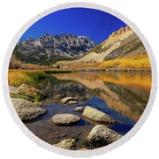 Round Beach Towel featuring the photograph North Lake by Tassanee Angiolillo