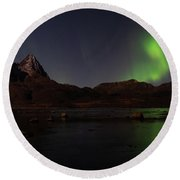 Northern Lights Aurora Borealis In Norway Round Beach Towel