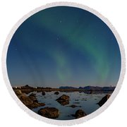 Northern Lights Over A Swamp  Round Beach Towel