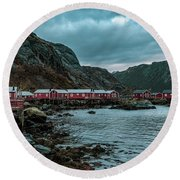 Norway Panoramic View Of Lofoten Islands In Norway With Sunset Scenic Round Beach Towel