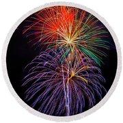 Nostalgic Fireworks Round Beach Towel